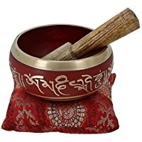 Tibetan Meditation Om Mani Singing Bowl / Cushion / Mallet (4 Inch, RED ) Complete Set of 1 Piece, Handmade and Stylished