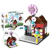 建物 ブロック おもちゃ ビルディングブロックおもちゃセット ミニストリートビュー ハンバーガーショップ/フラワーショップ/フライドポテト/キャンディー/ドラッグストア 積み木 男の子 女の子 知育玩具 プラスチック