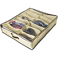 ZizHome Under Bed Shoe Organizer for Kids and Adults (12 Pairs ) - Underbed Shoes Closet Storage Solution - Made of Breathable Materials with Front Zippered Closure - Easy to Assemble [並行輸入品]