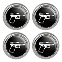 メタルクラフト縫製ノベルティボタン - 4点セットガンガンガンホワイトオンブラック
