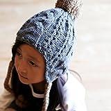 GRIN BUDDY (グリンバディ) キッズ ケーブル イヤーボンボン ニットキャップ ニット帽 帽子 耳あて 53cm 女の子 男の子 ニット 防寒 冬 おしゃれ 誕生日 プレゼント 耳付き