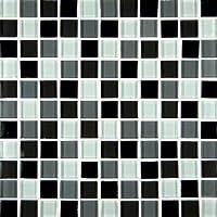 M S Internationalブラックブレンド12in。X 12In。X 8mmガラスmesh-mountedモザイクタイル、( 10平方フィート。、1ケース10個)