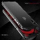 MQman 伝奇 新登場 iphoneX アルミバンパー ケース アイフォンXメタルフレーム アイフォンカバーストラップホール 金属合金カバー人気「表面強化ガラス付き 背面透明プレート付き」 (黒)