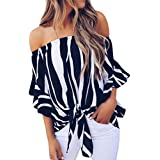 SakuraBest SakuraBest Women Striped Off Shoulder Waist Tie Blouse Womens Casual T Shirts