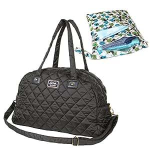 マザーズバッグ キルティング トートバッグ ママバッグ ショルダー 軽量 出産準備 旅行 バッグ プレゼント ボストンバッグ おむつポーチ (バード ウエットポーチ)