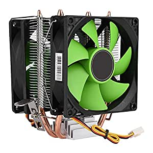 CPU クーラー 両面ファン 3pin静音Intel/AMD両対応 LGA775/1156/1155 AMD AM2/AM2 +/AM3に対応 90mm 銅制 30000時間 長寿命