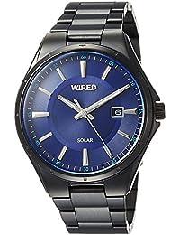 [ワイアード]WIRED 腕時計 WIRED ソーラー スタンダード 青文字盤 10気圧防水 ブラックケース AGAD403 メンズ