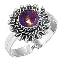 925 スターリング シルバー 女性 ジュエリー 銅 紫 ターコイズ リング サイズ 24
