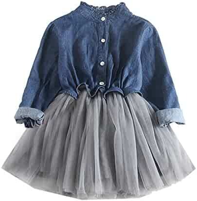 bbea7b5b45d21 Children s Denim Shirt Girl Long Sleeve Short Sleeve One Piece Solid Mesh  Tulle Skirt Dress Above Knee Length Cute Refined School Kids Girls  Children s ...