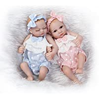 ピンキーのペア26 cm 10インチMiniフルボディハードSiliconeビニールRebornベビー人形Girls Twinsリアルな新生児人形クリスマス誕生日プレゼント