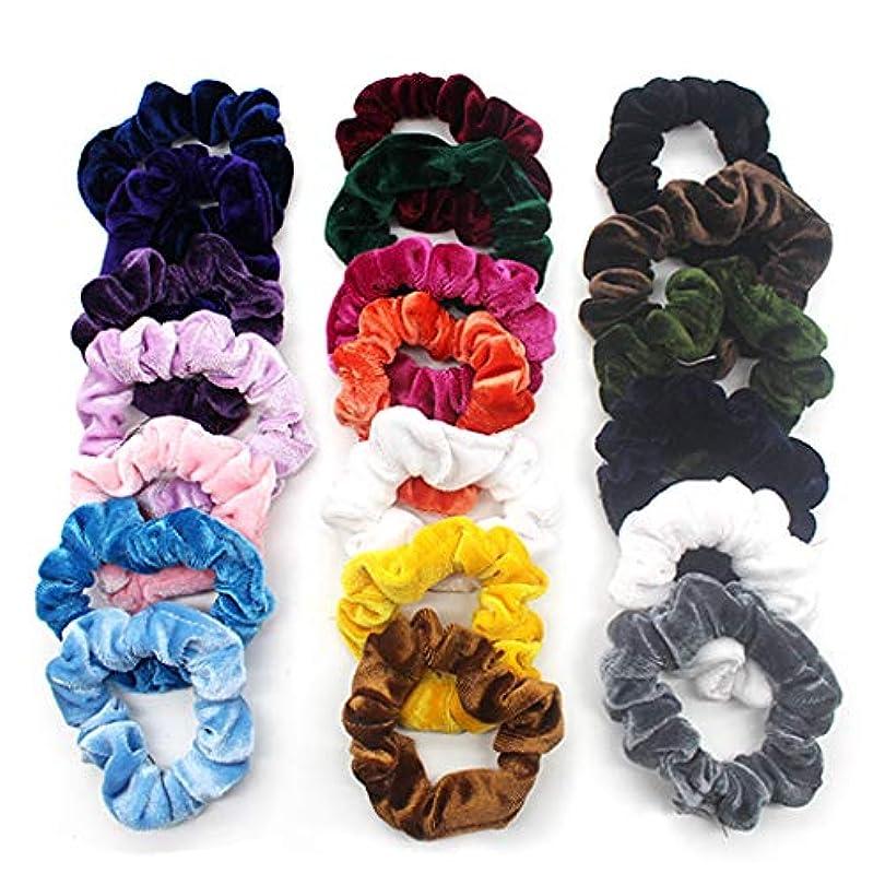 中絶黒放棄された20個ベルベットヘアライン 弾性ヘアバンド ソフトヘアケア 明るい色 複数の色 収納袋付き (多色)