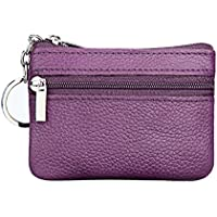 Women's Leather Coin Purse Mini Pouch Change Wallet with Key Ring Double Zipper Multifunctional Small Purse Purple
