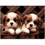 Wowdecor Paint by Numbers Canvas Kits for Adults Beginner Kids, DIY Acrylic Number Painting - Cute Puppy 16x20 inch - Wall Art Digital Oil Painting Home Decor Christmas Gifts (Frameless)