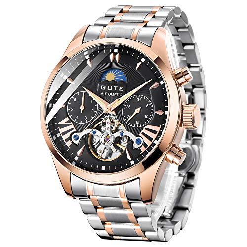 GuTe出品 腕時計 メンズ 自動巻きトゥールビョン風デザイン ステンレスバンド 日月表示 機械式 ブラック