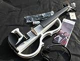 ヘッドフォンで演奏を聴ける 音を抑えた エレクトリック バイオリン 大幅に音エネルギーを低減 【 ホワイト 】