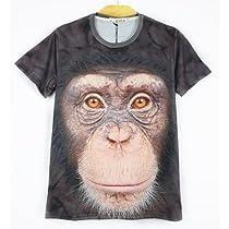 Tシャツ 3DアニマルTシャツ 動物Tシャツ 半袖Tシャツ おもしろTシャツ デザインTシャツ(チンパンジー) (XL)