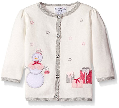 Hartstrings Baby-Girls Cotton Cardigan Sweater with Snowman Motif Marshmallow 3-6 Months [並行輸入品]