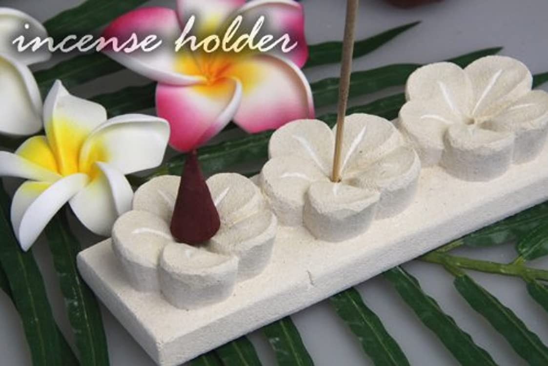 可動式ロバ速いパラス石で出来たプルメリアのお香立て(3連)