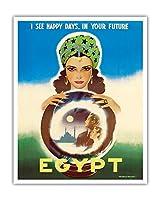 エジプト - 私はあなたの未来において幸せな日々を見ます - エジプトの占い師 - ビンテージな世界旅行のポスター によって作成された ラシャッド・マナッサス c.1960 - アートポスター - 41cm x 51cm