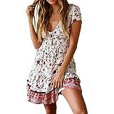 hot Sale Womens Casual High Waist Bohemia Print V Neck Button National Style Midi Dress