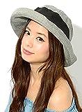 グレー F (ディーループ)D-LOOP UV カット 遮蔽率90%以上 ブリム 端 くるりんぱ ボーラーハット ハット 女優帽 紫外線対策 つば広 レディース ハット 日よけ かわいい おしゃれ 日除け 帽子 ぼうし つば広帽子 つば広め 無地 ガルボハット キャペリンハット クロッシェハット 122162-010-101