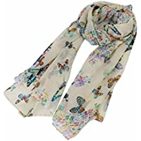 HENGSONG Women Print Butterfly Floral Vintage Chiffon Wrap Scarf For Any Seaon 135x40cm
