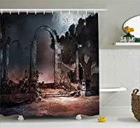 (180cm W By 180cm L, Multi 13) - Gothic Decor Shower Curtain by Ambesonne, Dark Night Dracula Deadly Home Castle Balcony in a Graveyard with Trees, Fabric Bathroom Decor Set with Hooks, 180cm , Black and Grey