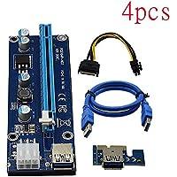 VER006C青色1x〜16x PCI ExpressライザーカードPCI-Eエクステンダー60cm USB 3.0ケーブルSATA 6Pin電源BTCマイナー