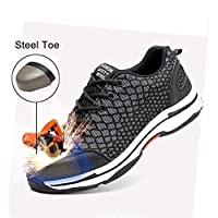 Safety Shoes, Steel Toe Cap Trainers Lightweight Mens Womens Safety Shoes Work Midsole Protection,36/EU