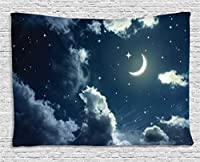 Ambesonne House Decor Collection, Crescent Moon and Stars on a Cloudy Starry Night Sky with Moonlight Astronomy Theme Picture, Bedroom Living Room Dorm Wall Hanging Tapestry, 80 X 60 Inches, Navy Grey [並行輸入品]