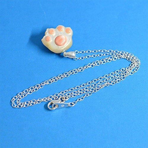 【にゃんこな日々】 猫 にくきゅう ペンダント 夜光貝 & 桃色珊瑚
