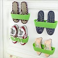 Merssavo ウォールマウント靴ラック靴テープラックグリーンプラスチック靴収納ラック