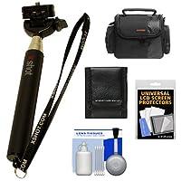 XShotポケット30.5インチコンパクトカメラExtenderハンドヘルド一脚ケース+クリーニングキット+アクセサリキット
