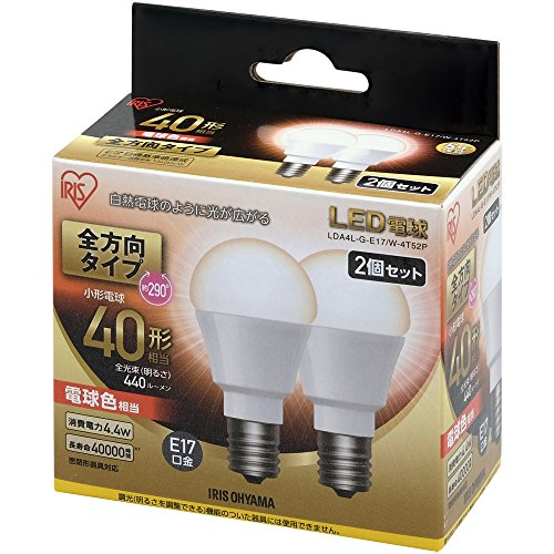 アイリスオーヤマ LED電球 口金直径17mm 40W形相当...