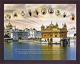 すべてのシーク教徒Ten Guru ; S with Amritsar Temple A Cityシーク教徒のアムリトサル、Aシークの宗教画ポスターフレーム付きSikhファミリのホーム/オフィス/ギフト用途/Sikh Religious/Gurudwaraギフト/A Sikh