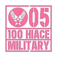 ミリタリー 100 HIACE 100 ハイエース カッティング ステッカー ピンク 桃