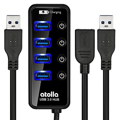 USB3.0 ハブキット(セルフパワー、電源スイッチ付き、4ポート+2.4A充電ポートx1、1メートルのUSB 3.0延長ケーブル) (ブラック)