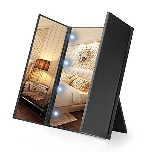 WYAO 鏡 卓上 三面鏡 LED 化粧鏡 折りたたみ式 拡大鏡つき ブラック (8LED)