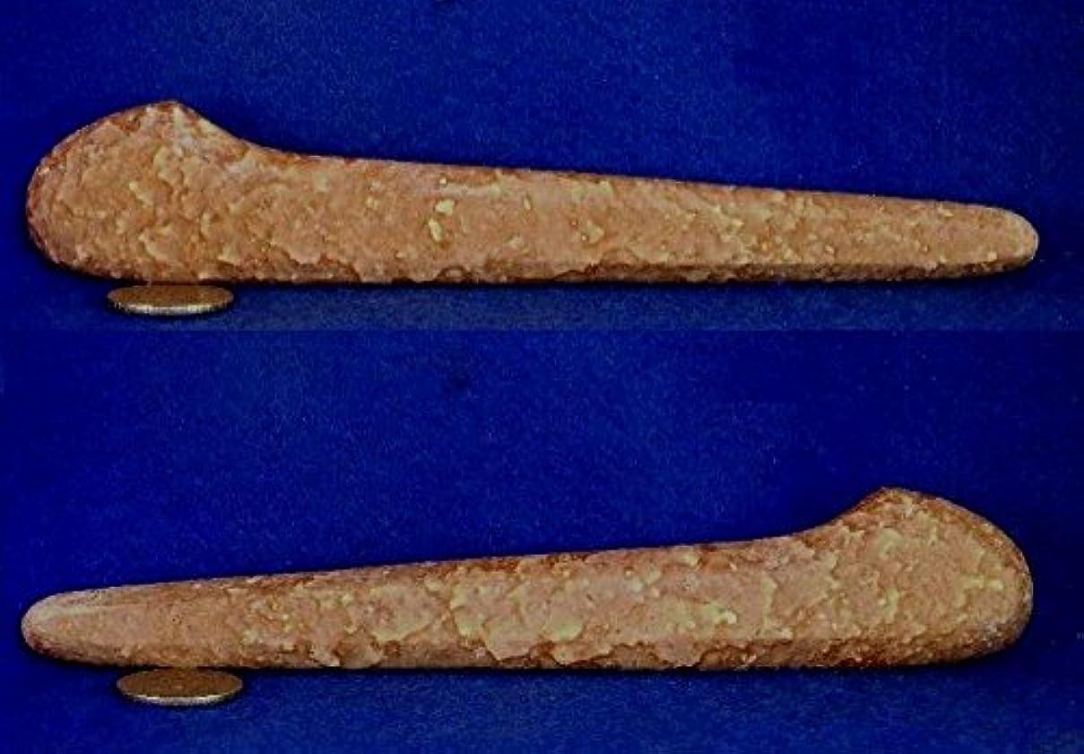 改善塩辛いとげのある姫川薬石 虎模様 手造りかっさ&ツボ押し棒型 182mm120g