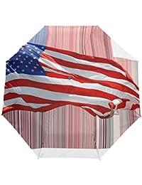 KASAMOアメリカの旗折りたたみ傘 子供 キャラクター ワンタッチ自動開閉 耐強風 折りたたみ傘 レディース 晴雨兼用 軽量 紫外線傘 UVカット