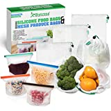 Reusable Silicone Food Preservation Bags (4) With Mesh Produce Bags (6) | Eco Food Storage | Airtight Seal | Freeze, Steam, Heat, Microwave | Fruits, Vegetables, Meat, Milk 1500ml x 1000ml - Capacity Bag