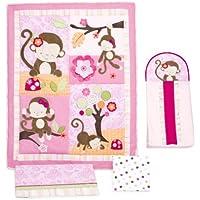 Kids Line 4 Piece Crib Bedding Set, Miss Monkey (Discontinued by Manufacturer) by kidsline