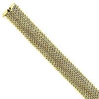14KゴールドHollow Polished Meshブレスレットwithボックスと舌Clasp (17.9mm)
