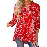 WLLW Women's Bohemian 3/4 Sleeve V Neck Floral Print Shirt Blouse Tops Tee Tunic