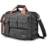 LOKASS 17.3 Inches Laptop Bag Canvas Messenger Bag Business Travel Shoulder Bag Large Capacity Computer Briefcase Multifuntional Outdoor Bag for Men/Women / College (Black)