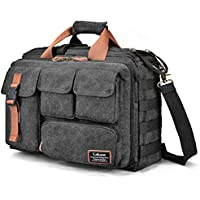 LOKASS 17.3 Inches Laptop Bag Canvas Messenger Bag Business Travel Shoulder Bag Large Capacity Computer Briefcase Multifuntional Outdoor Bag for Men/Women / College (Black)