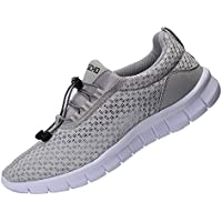 RIGCHO Men's Athletic Running Shoes Fashion Sneakers Lightweight Breathable Casual Mesh Soft Sole Shoes Black