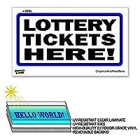 ここで宝くじのチケット - 12×6で - ラミネート符号ウィンドウビジネスステッカー