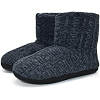 ONCAI Men's Slippers Handmade Woolen Yarn Indoor Slipper Boots Sherpa Lined