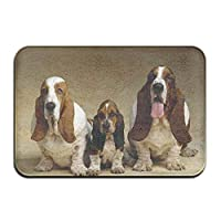 Door Mat Basset Hound Three Dogs Non-slip Stain Fade Resistant Soft Living Dining Room Rug For Front Door Entrance Outside Doormat 23.615.70.39Inch フロアマット